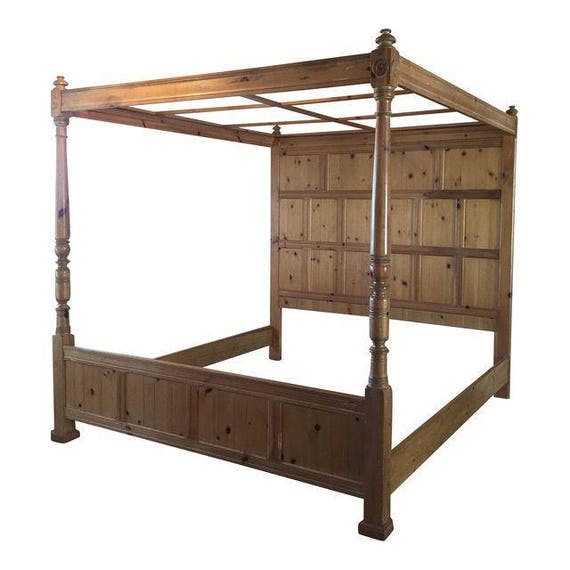 King Bed Frame 4 Poster Bed French Farmhouse Bed Pine Panel Headboard Canopy Bed By Henredon