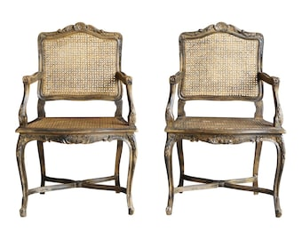 French Style Cane Arm Chairs / Dining Host Chairs / Accent Chairs ~ Pair