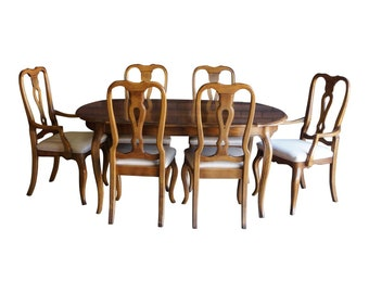 Dining Set ~ Oval Dining Table ~ Splatback Dining Chairs ~ Country French Dining Set by Ethan Allen