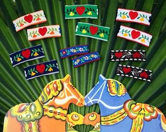 Vintage Scandinavian Jacquard Ribbon Snap Clips // Nordic Hearts Snap Clips // Swedish Holiday Hair Accessories