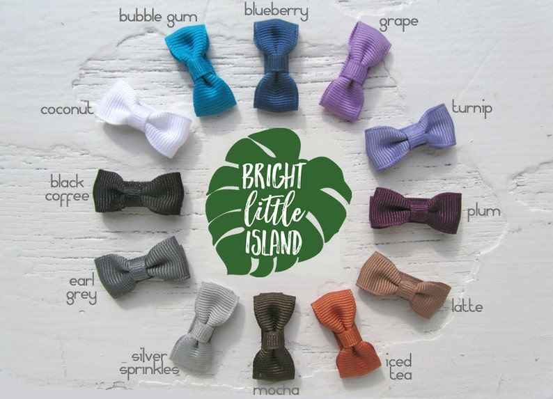 Modern Bow Infant Snap Clips // Bow Tie Hair Clips // Petite image 0
