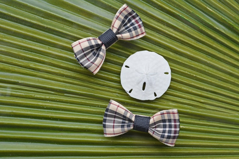 Modern Bow Alligator Clip in Preschool Plaid // Bow Tie Hair image 0