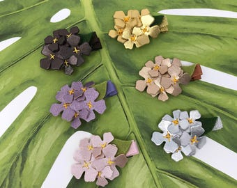 Embroidered Metallic Lilac Bloom Alligator Clips // Embroidered Flower Clip // Faux Leather Flower Hair Clip // Metallic Flower Hair Clip