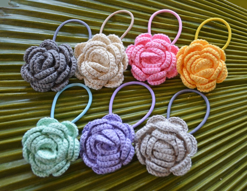 New for 2016 // Crochet Camellia Hair Elastic // Crochet image 0