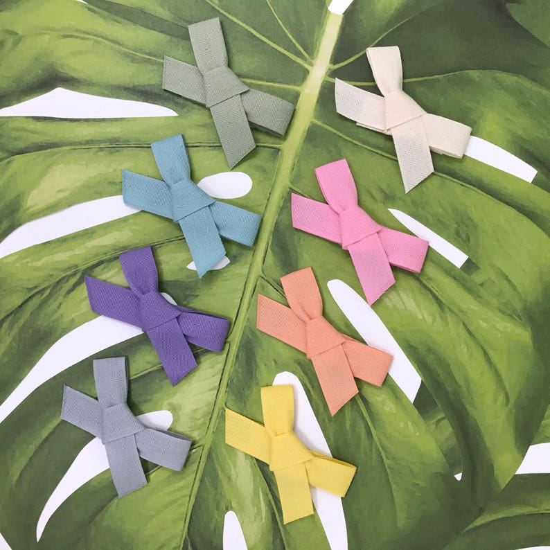 Hand-Tied Bow Snap Clips in Fettuccia Ribbon // Eco-Friendly image 0