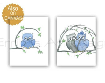 Owls Nursery Decor, Baby Boy Nursery, Owls Nursery Wall Art, SET 2, Baby room decor, Blue Grey Nursery art, Owls Wall Decor, Art for Nursery