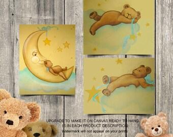 Teddy bears nursery decor, Baby room wall art, Bears wall art, SET 3, Sweet Dreams, Baby Nursery decor, Art for nursery, Baby room decor