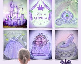 Princess Cinderella Wall Art Purple SET 6 Prints, Baby Girl Nursery, Disney Inspired, Princess Coach, Shoe, Castle, Crown, Custom name Art