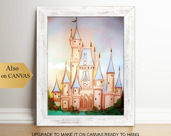 Princess Peach Castle, Baby Girl Nursery, Cinderella, Disney inspired, Princess Wall Art, Girls room decor, Princess Nursery, Princess decor
