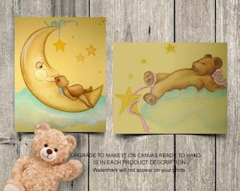 Baby Nursery decor, Teddy Bears Wall Art, Moon Stars Nursery Art, Bears Nursery decor, Baby room wall art, Baby room decor, Bears baby room