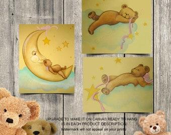 Bears Nursery Wall Art, Baby Nursery decor, Teddy Bears Wall Art, SET 3, Art for Nursery, Sweet Dreams, Baby room decor, Bears Nursery art