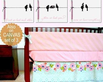 First we had each other, Birds Nursery Art, Baby Girl Nursery, SET 3, Pink, Birds family art, Nursery decor girl, Nursery wall art girl