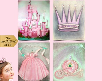 Princess Wall Art, Baby Girl Nursery, SET 4 Prints, Cinderella's Castle, Crown, Dress, Carriage, Children Wall Art, Pink, Disney inspired