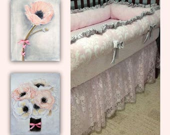 Baby Girl Nursery Art, Pink Flowers Wall Art SET 2 Art Prints, Shabby Chic, Pink, Bouquet Flowers, Girl Nursery art, Floral Girls room decor