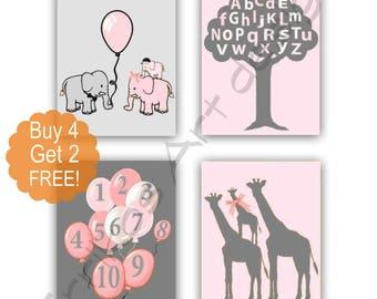 Elephant Nursery Decor, Letters & Numbers, Safari Nursery, Giraffe, Baby Girl Nursery, SET 4, Animals Nursery Art, Zoo Nursery Wall Art