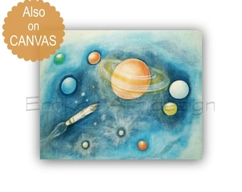 Outer Space Wall Art, Solar System Nursery Art, Boy Nursery Decor, Planet system wall art, Boys room decor, Boy Nursery wall art, Kids art