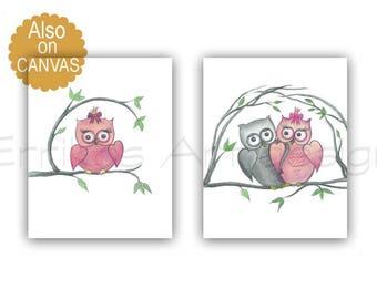 Owls Nursery Wall Art, Baby Girl Nursery, Owls Nursery Decor, SET 2, Pink Nursery Art, Owls baby room, Art for nursery, Owls girls room art