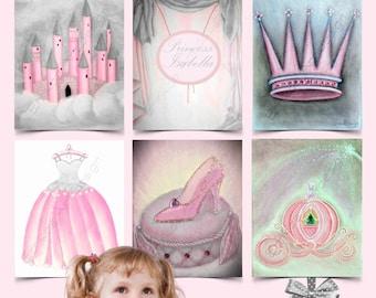 Princess Wall Art, Cinderella Shoe, Carriage, Royal Crown decor, Castle wall art, Set 6, Pink Gray, Dress art print, Princess Nursery Decor