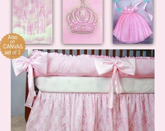 Princess pink Nursery Art SET 3 Prints, Baby Girl Nursery, Princess Wall Art, Cinderella, Crown, Castle, Princess Nursery, Princess Decor