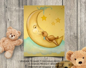 Bears Nursery Decor, Baby Nursery Wall Art, Sweet Dreams, Moon & Stars, Baby room decor, Art for nursery, Bears Nursery Art, Teddy bear art