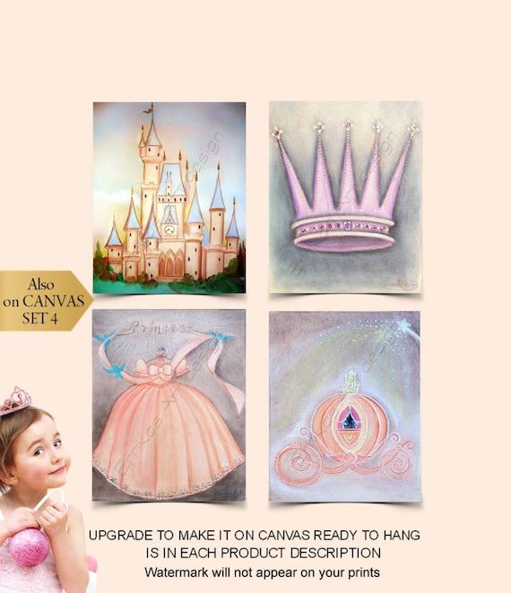 Princess Wall Art SET 4 Prints Cinderella Disney Princess | Etsy