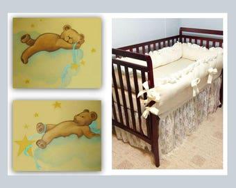 Teddy bears nursery wall art, Baby room decor, Bears print, SET 2, Baby nursery decor, Art for nursery, Bears baby room, Bears nursery art