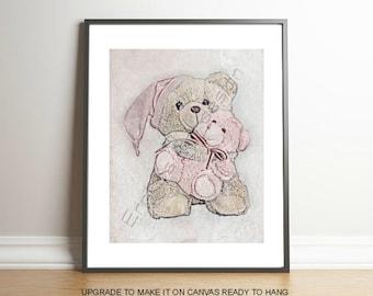 Bear Baby Girl Art Print, Nursery Decor, Bear Nursery Art, Pink, Nursery Wall Art, Baby Girl Nursery, Girl Nursery Art, Baby Bear Art Print