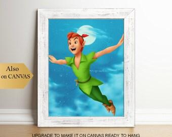 Peter Pan Art Print, Peter Pan Wall Art, Baby Boy Nursery Decor, Peter Pan Painting, Peter Pan Nursery, Boys room art, Peter Pan Poster