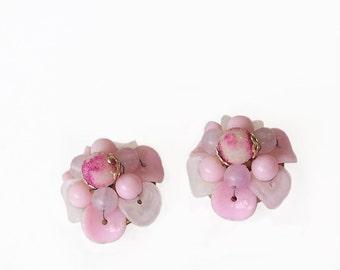Earrings Sugar Beads Pink Petals marked Hong Kong Vintage