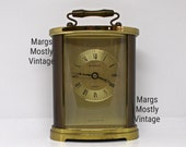 Vintage H. Samuel Carriage Mantle Clock Quartz Made in England Gold Bronze Tone