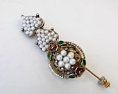 Vintage Hinged Hat Stick Pin Brooch with Pearls Roses and Hearts