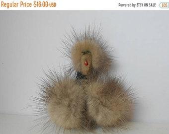 Vintage Poodle Dog Brooch Pin REAL MINK Fur Animal 1950s