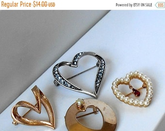 Heart Brooches FOUR Gold and Silver Tone