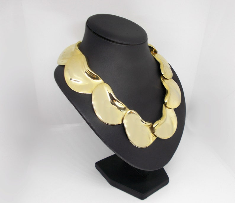 Vintage Modernist Statement Necklace Choker Crumpled Wrinkled Gold Tone with BONUS Earrings