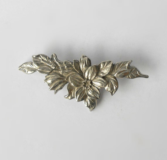 Vintage Seagull Pewter Brooch Floral Flowers Made In