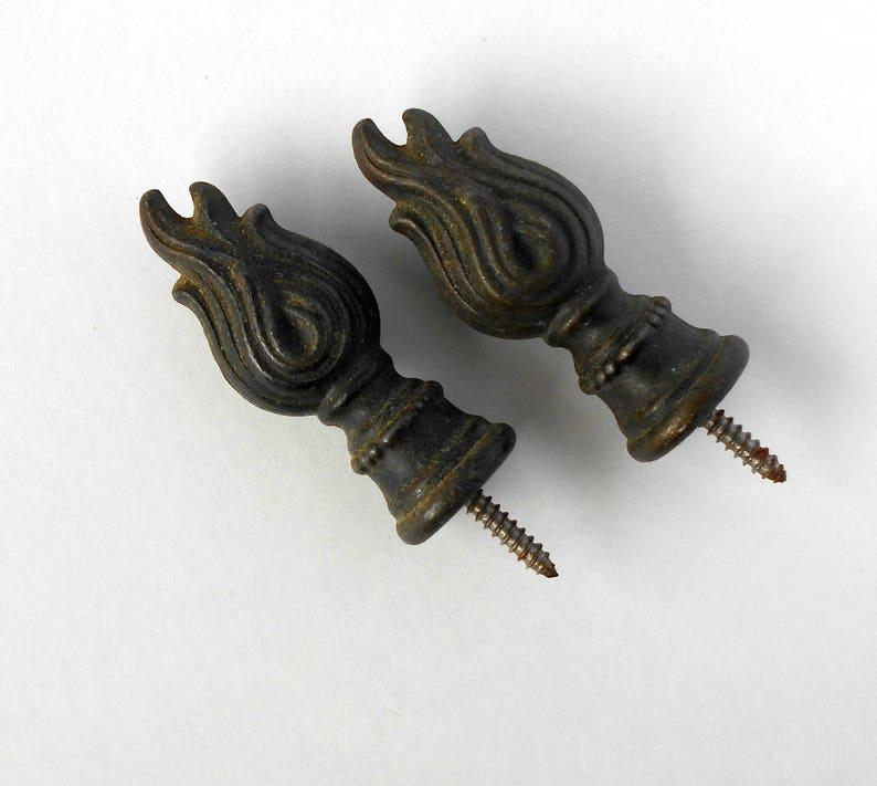 Two Vintage Bronze Finials Drapery Hardware Window Treatment Salvage  CIJ