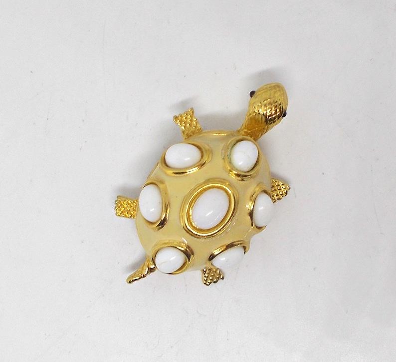 Vintage D/'orlan Enamel Milk Stone Cabochons Turtle Brooch Gold Tone