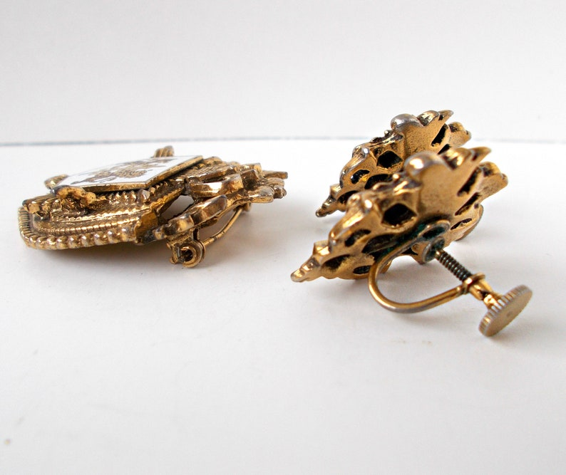 Vintage Brooch Pin and Earrings Coat of Arms Two Lions Sword on Shield with Crown Wings Star CIJ