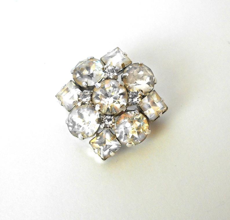 Sterling Silver 925 Jay Flex Brooch Pin with Clear Rhinestones