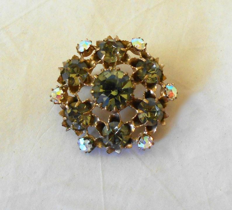 Vintage Brooch Pin Dark grey Rhinestones Aurora Borealis gold tone
