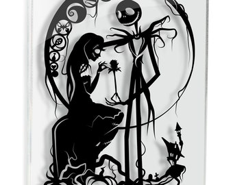 Nightmare Before Christmas Jack Skellington and Sally Meant To Be Papercut Love Art Anniversary Gift Wedding Gift Tim Burton FRAMED