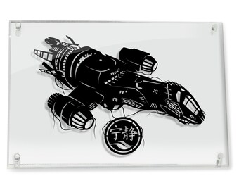 Serenity Firefly Mal Wash Western brown coats spaceship scifi thief vehicle silhouette handcut paper craft FRAMED