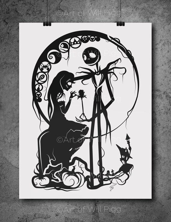 Nightmare Before Christmas In French.Jack And Sally Nightmare Before Christmas Screen Print Of My Paper Cut Signed 12 X18 French Sweet Tooth 100lb Paper Black Metallic Ink