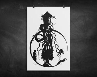 Rapunzel Tower silhouette art print