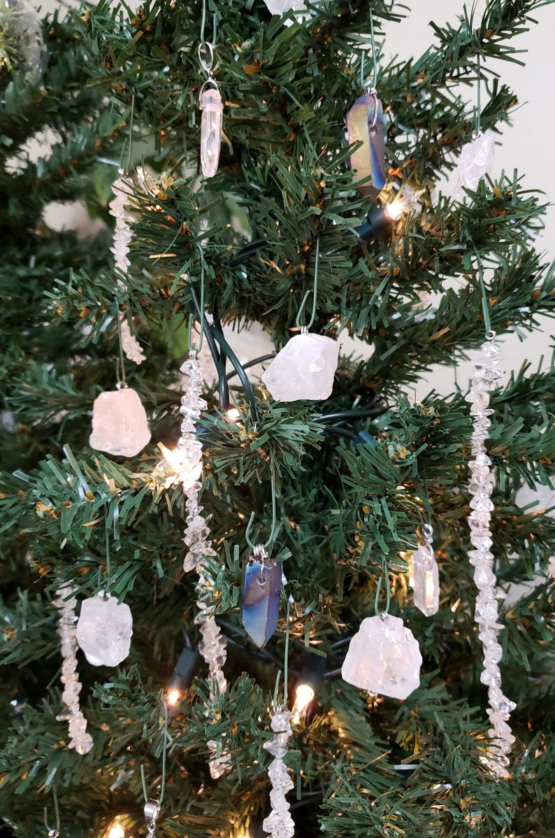 Christmas Tree Icicles Tinsel.Set Of 6 Clear Quartz Icicles Tinsel Quartz Healing Christmas Window Hanging Winter