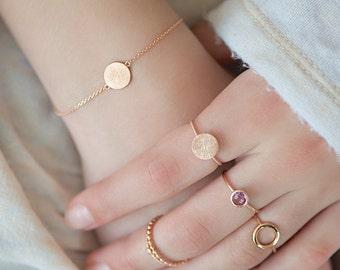 Delicate rosé gold chain bracelet with circle element,scratch finish bracelet,dainty bracelet,pink gold bracelet,charm bracelet