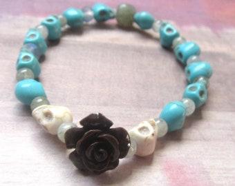Mini Aqua Skull & Rose Stretch Bracelet, Day of the Dead, Halloween