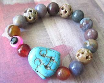 Oversized Aqua Happy Buddha Stretch Bracelet with Assorted Beads