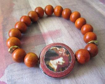 Elizabethan Era Inspired Stretch Bracelet with Redwood Beads