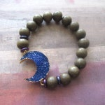 Navy Blue Moon Druzy Beaded Stretch Bracelet with Wood Beads